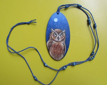 original oil painting on wood beaded necklace horned owl