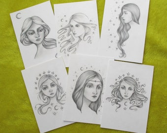 Moon Maidens postcard pack