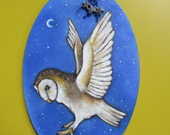 original oil painting on wood barn owl in flight
