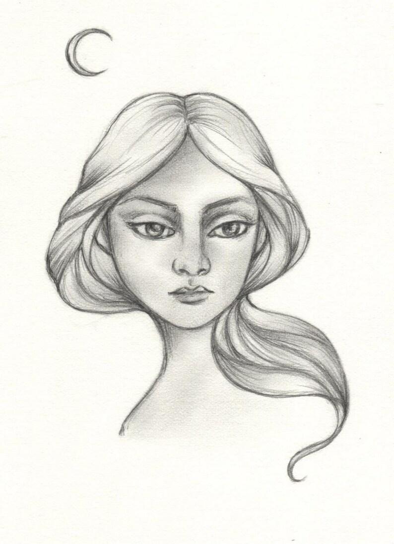fair maiden Luna original drawing image 0