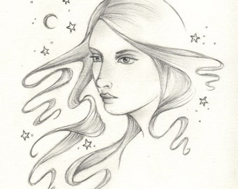 Gloria Crescent Moon Maiden original drawing