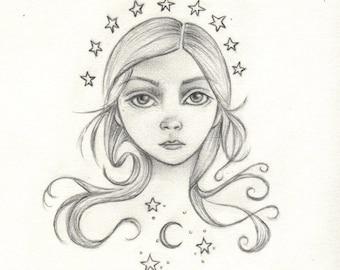 Star Maiden original drawing