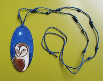 original oil painting on wood beaded necklace barn owl wearable art