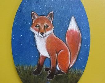 original oil painting starry night fox