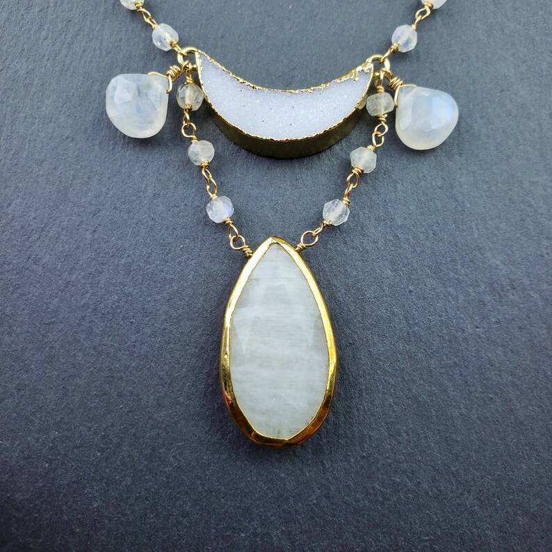 June birthstone celestial moonchild Moonstone and Crescent Moon Druzy Necklace cosmic gold filled teardrop wedding pear shape
