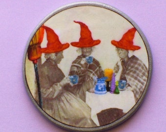 Vintage Witch RED HATS Tea Party Talisman Amulet