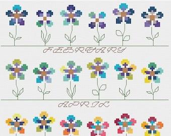 Temperature Garden HIGHS & LOWS cross stitch pattern PDF - Instant Download