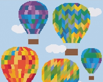 Temperature Balloons cross stitch pattern PDF - INSTANT DOWNLOAD