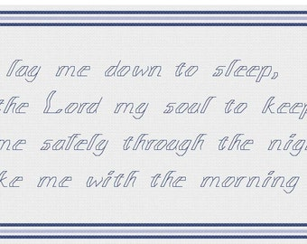 Now I Lay Me Down to Sleep - Cross stitch pattern PDF - Boy - fair skin - freckles - red hair - INSTANT DOWNLOAD