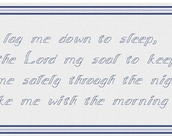 Now I Lay Me Down to Sleep - Cross stitch pattern PDF - Boy - fair skin - blond hair - INSTANT DOWNLOAD