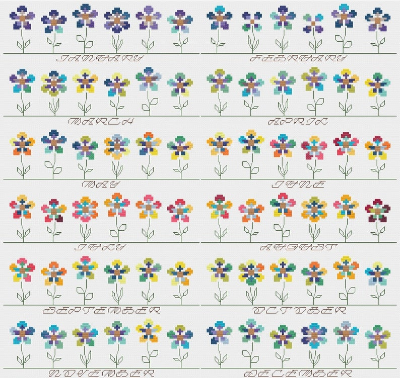 Temperature Garden HIGHS & LOWS cross stitch pattern PDF  image 0