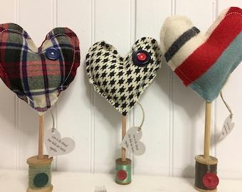 VALENTINES Stuffed Hearts on Vintage Wooden Spool of Thread