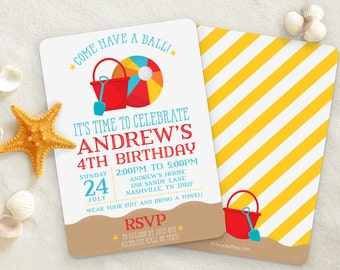 Pool Party Invitation / Beach Ball / Beach, sand, and bucket