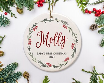 Hedgehog Christmas Ornament 2021 Baby Name Ornament Etsy