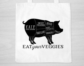 Veggie Pig Tote Bag - Barbecue - Vegan - Carnivore - Funny Totebag - gift for vegetarian