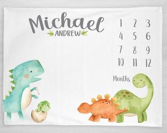 Dinosaur Milestone Blanket- Baby Month Blanket, Boy, tyrannosaurus rex, brontosaurus, triceratops, Baby Shower Gift