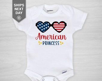 4th of July Onesie®, Baby Infant Bodysuit, Gerber Onesie®, Independence Day, American Princess Royalty