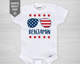 Personalized 4th of July Onesie®, sunglasses with flag, first Independence Day, baby boy Gerber Onesie®, Independence Day