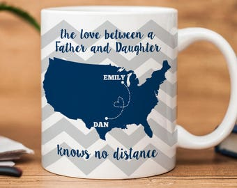 Father's Day Mug - Personalized Coffee Mug - The love between a father and daughter knows no distance