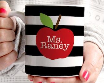 teacher mug - teacher gift - apple - personalized - teacher coffee mug