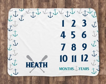 Baby Month Milestone Blanket- Scatter Anchors Nautical - Personalized Baby Blanket - Track Growth and Age - New Mom Baby Shower Gift