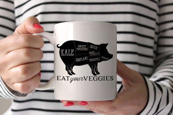 Veggie Pig Mug Unicorn Funny Coffee Birthday Gift
