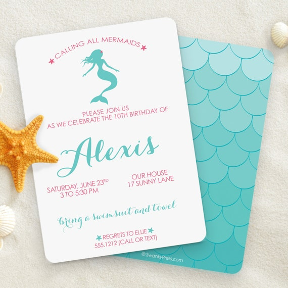 Mermaid Invitation Party Pool Birthday Invitations