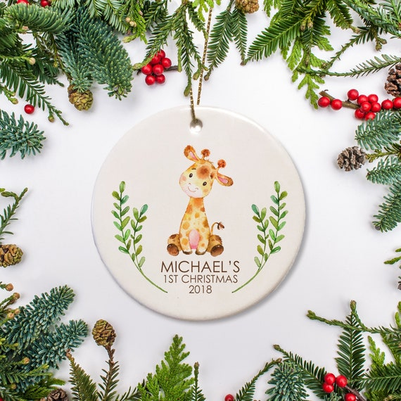 Christmas Ornaments Personalized.Baby S First Christmas Ornament Personalized Ornament Giraffe Ornament Watercolor Ornament Baby S 1st Christmas 2019 Ornament Gift