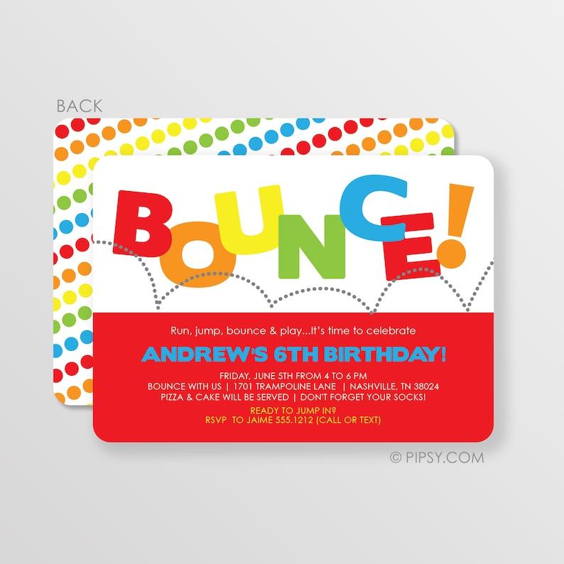 Bounce Invitation House Birthday Party