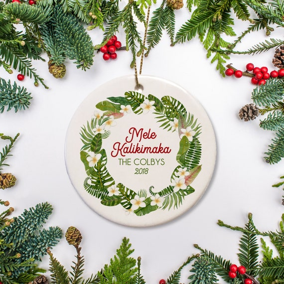 Hawaii Christmas.Personalized Hawaii Christmas Ornament Tropical Wreath Ornament Beach Christmas Ornament 2019