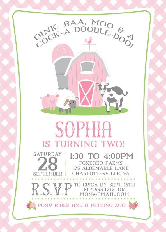 Pink Farm Birthday Invitation For A Girl