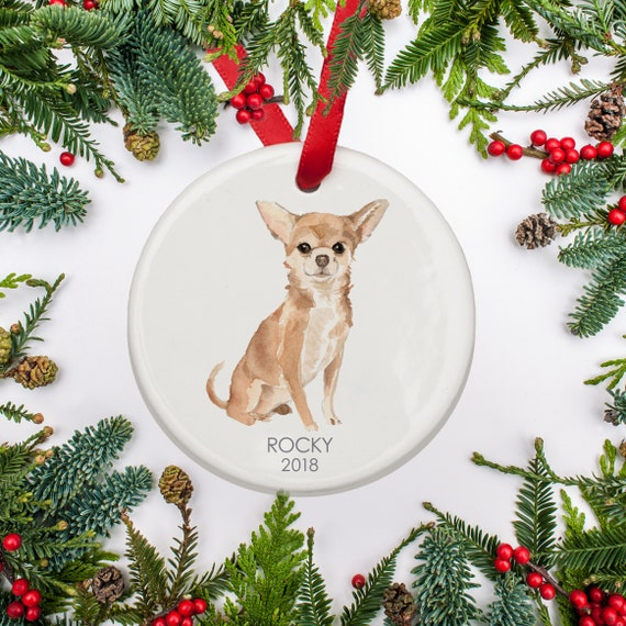 Personalized Dog Christmas Ornament, Chihuahua Dog Ornament ...