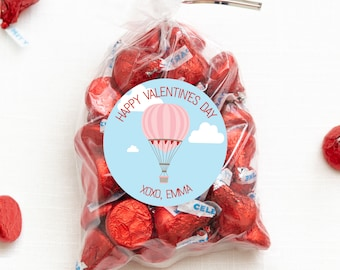 Valentine's Day Stickers - Love is in the Air - Hot Air Balloon - 12 per sheet or print at home digital file