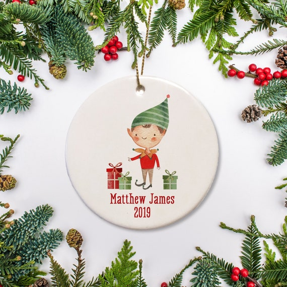 Boys Christmas Presents 2019.Elf Boy With Presents Personalized Christmas Ornament