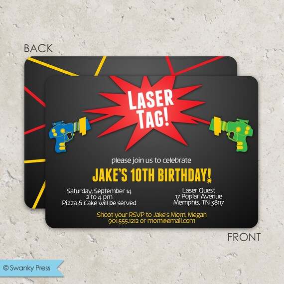 Laser Tag Birthday Invitations Fun 2 Sided Design On Premium Cardstock