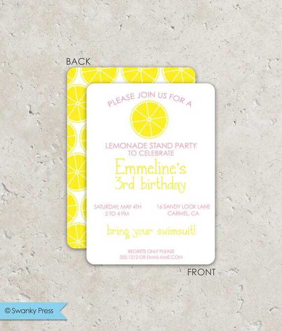 Lemonade Stand Birthday Invitations Bright Modern 2 Sided Design