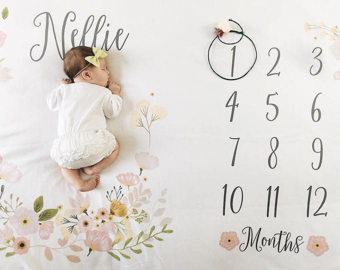 Baby Girl Month Milestone Blanket- Blossom, Girl, Personalized Baby Blanket, Track Growth and Age, New Mom Baby Shower Gift