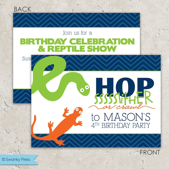 Reptile Party Invitations Snake And Lizard Snake Birthday Party