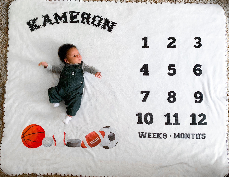9ed55bde4 Baby Milestone Blanket Baby Month Blanket Classic Sports | Etsy
