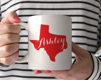 Personalized Coffee Mug -Big State with Name