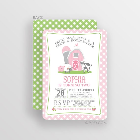 Pink Farm Birthday Invitation For A Girl Farm Party Invite