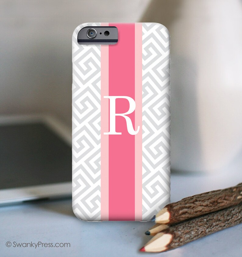 iPhone 11 Greek Key with Stripe iPhone XR iPhone Personalized Case with initial iPhone 11 Pro Max Choose your Custom color iPhone XS