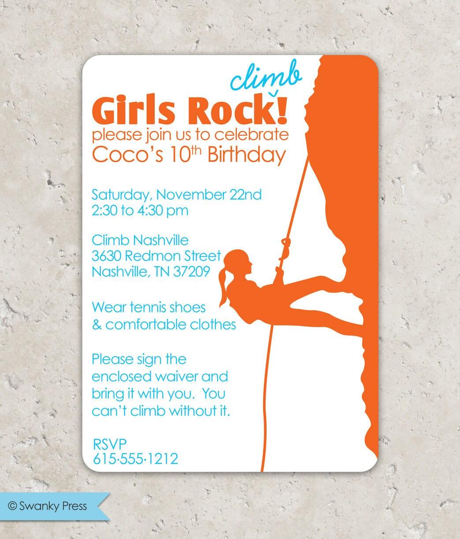 Rock Climbing Girls Rock Birthday Invitation | Etsy