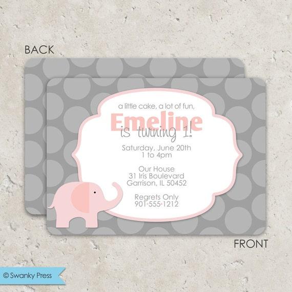 Gianna S Pink And Gray Elephant Nursery Reveal: Pink And Gray Elephant Invitations