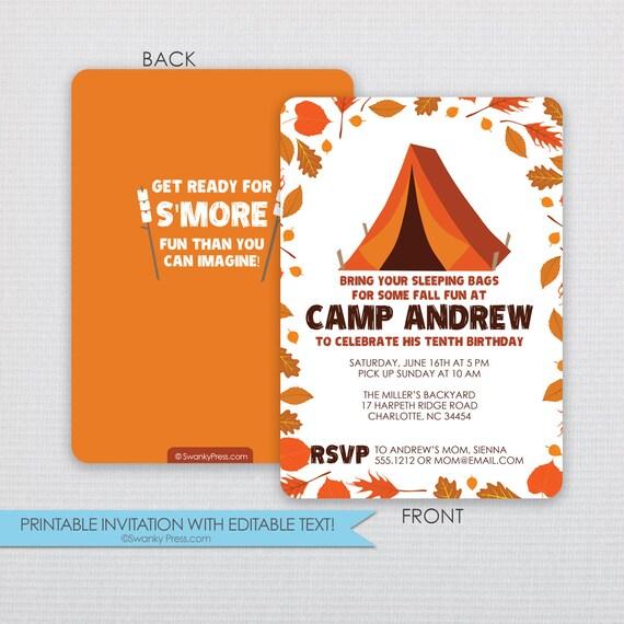 Camping Invitation - Fall Camping Bonfire and Outdoor Nature Party ...