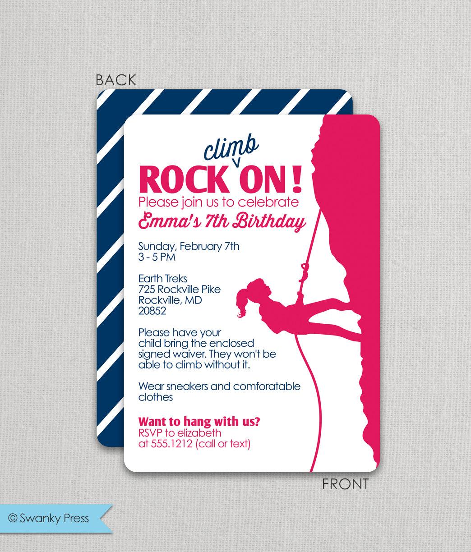 Rock Climbing Girls Rock On Birthday Invitation | Etsy