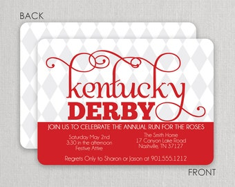 Kentucky Derby Invitation - Derby  Party Invitation - Run for the Roses - Harlequin Invitation