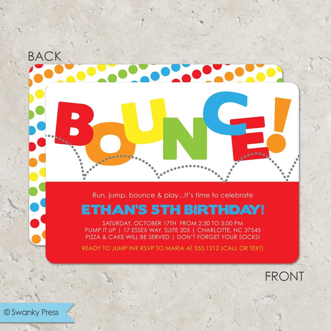 Attractive Bounce Party Invitation Adornment - Invitations and ...