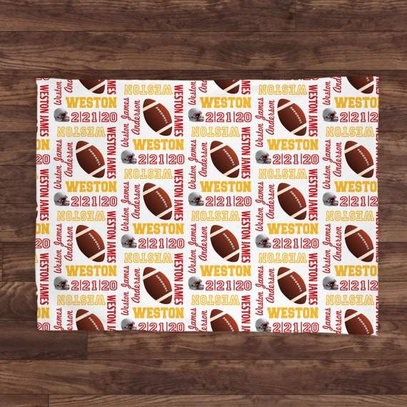 Personalized Football baby blanket  boy blanket  football blanket  embroidered blanket  Personalized   baby shower gift    It/'s A Boy