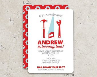Tools Birthday Party Invitations .  Fun 2-sided Design on premium cardstock . Great for construction or builder boy parties